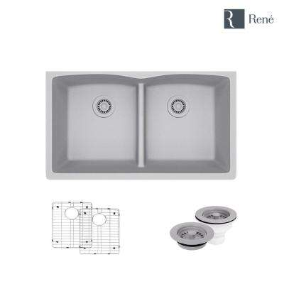 Undermount Composite Granite 33 in. Double Bowl Kitchen Sink in Pewter