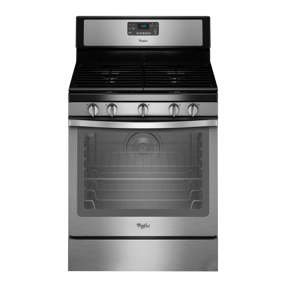 Whirlpool 5 8 Cu Ft Gas Range With Self Cleaning Convection Oven In Stainless Steel