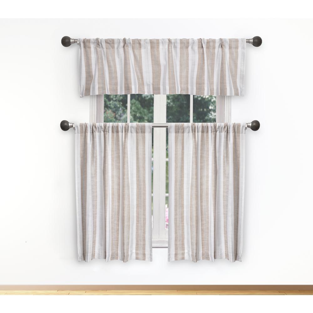 Rhett Kitchen Valance in Linen-White - 15 in. W x 58 in. L (3-Piece)