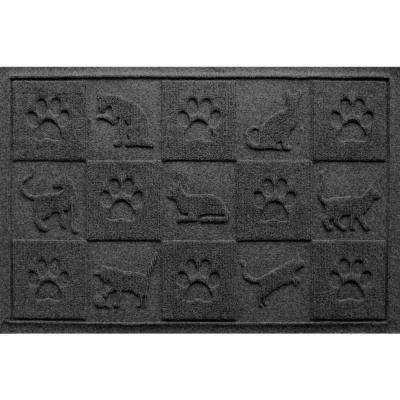 Charcoal 24 in. x 36 in. Cat in the Mat Pet Mat