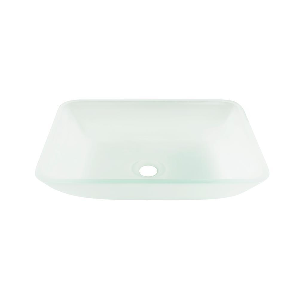 VIGO Rectangular Vessel Sink In White Frost