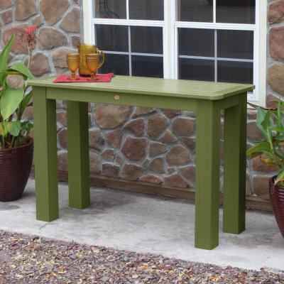 Dried Sage Rectangular Recycled Plastic Outdoor Balcony Height Dining Table