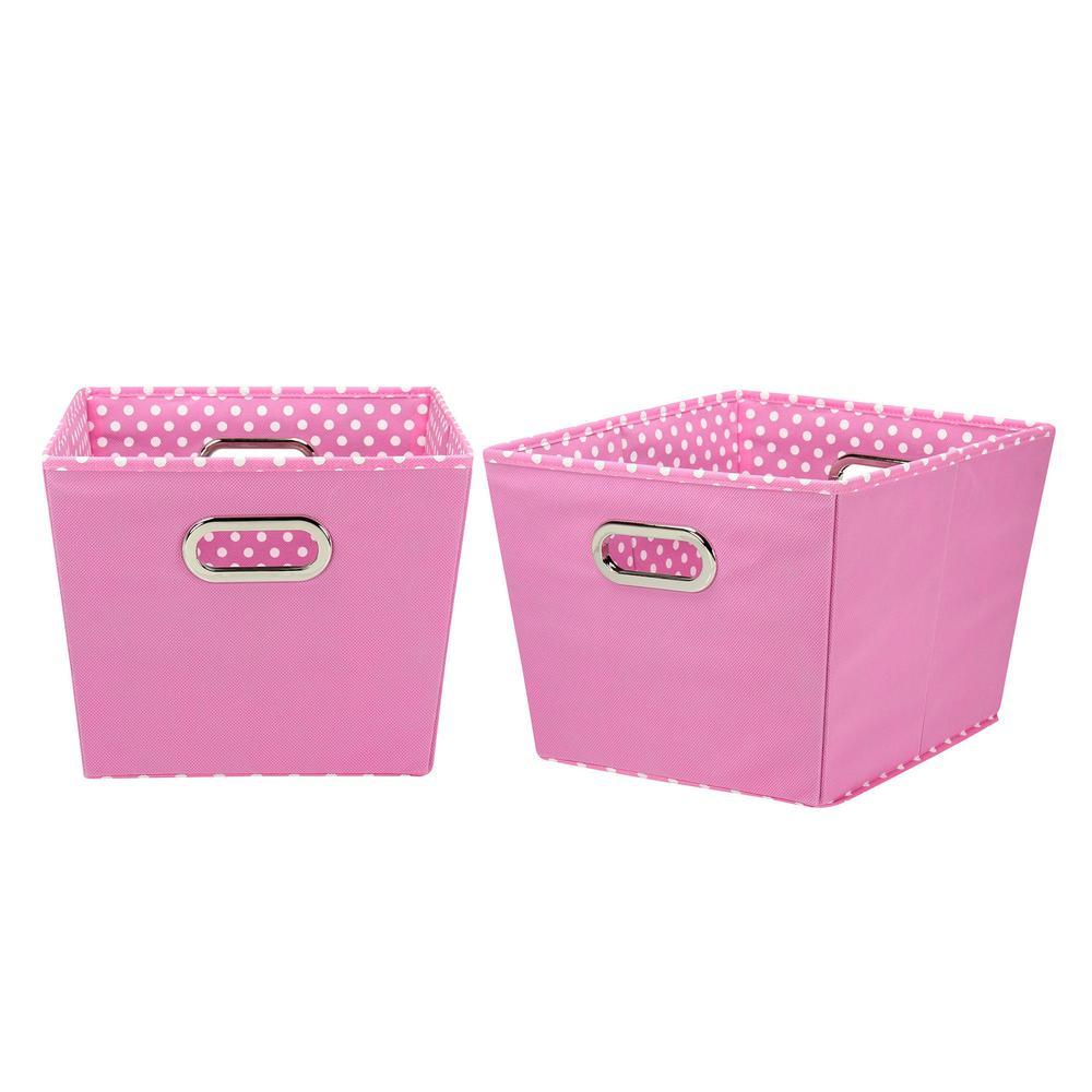 12 in. x 14 in. Tapered Storage Bins, Pink Polka Dot (Set of 2)