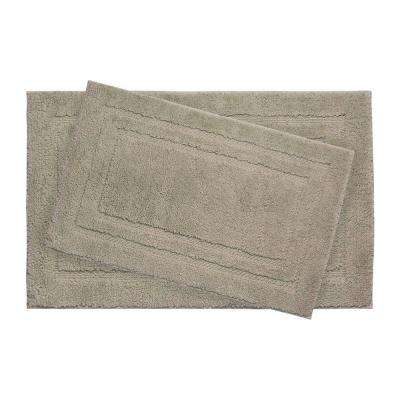 Double Border Linen 21 in. x 34 in. 2-Piece Bath Mat Set