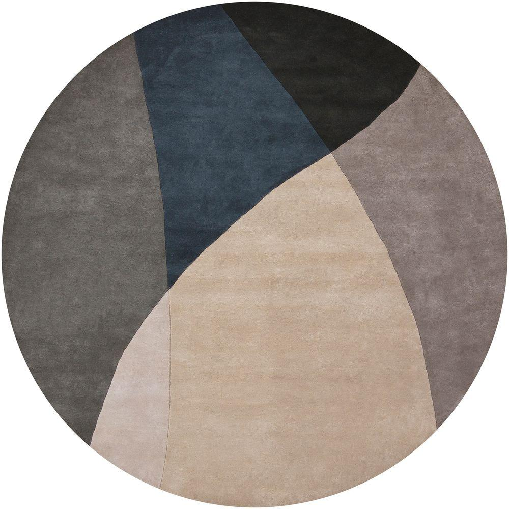 Bense Grey/Blue/Black 8 ft. Indoor Round Area Rug