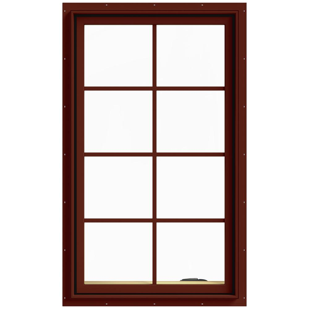 JELD-WEN 28 in. x 48 in. W-2500 Series Red Painted Clad Wood Right-Handed Casement Window with Colonial Grids/Grilles