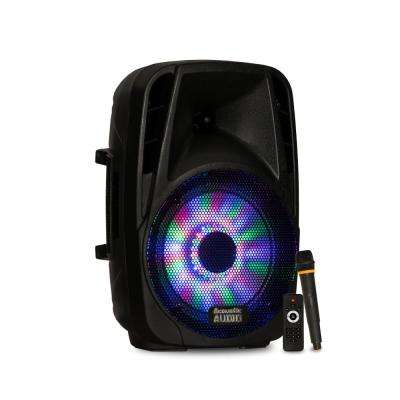 Battery Powered 8 in. Bluetooth LED Speaker and Wireless Mic