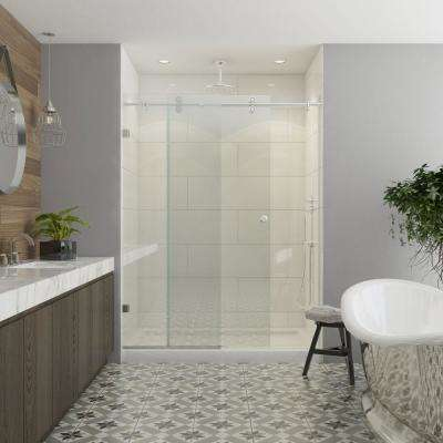 Model 8800 60 in. x 76 in. Frameless Sliding Shower Door in Brushed Nickel with Circular Thru-Glass Door Pull
