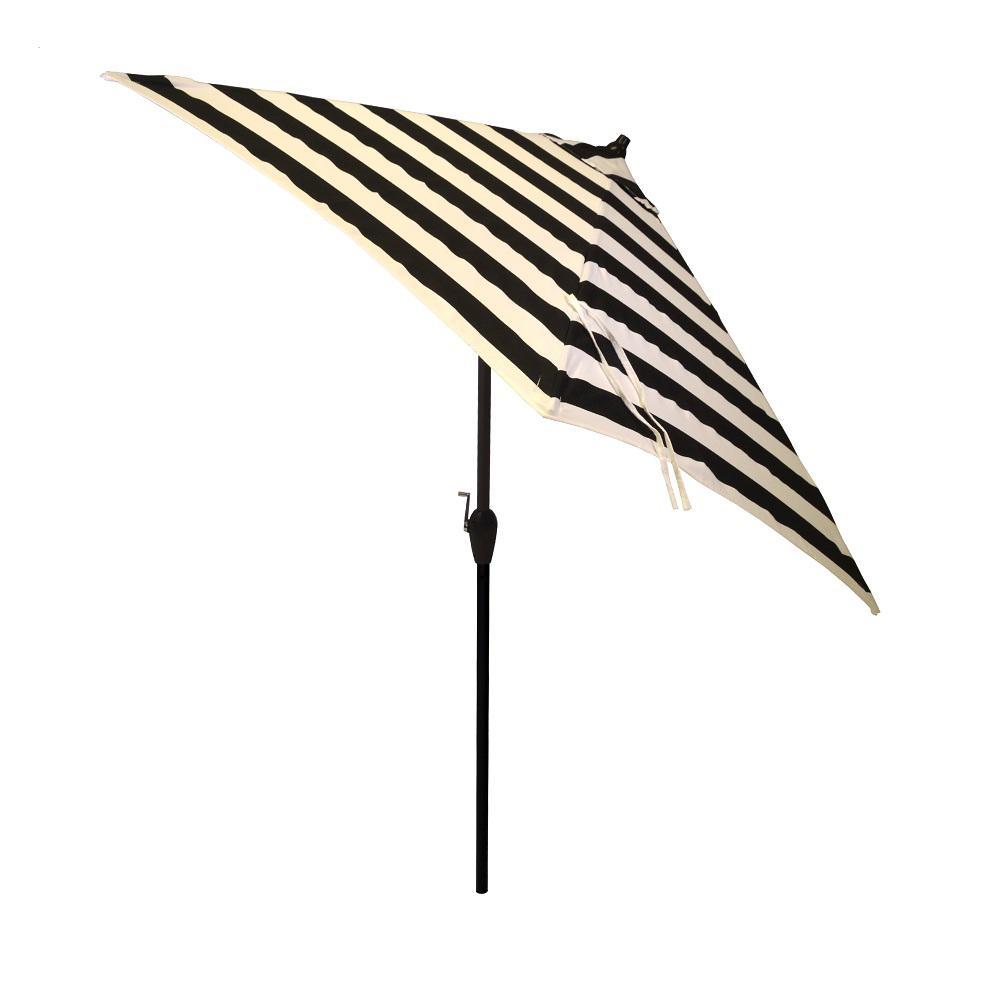 9 ft. Aluminum Market Tilt Patio Umbrella in Black Cabana Stripe