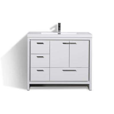 Dolce 42 in. W Bath Vanity in High Gloss White with Reinforced Acrylic Top in White with White Basin & Left Side Drawers