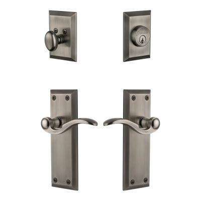 Fifth Avenue Plate 2-3/4 in. Backset Antique Pewter Bellagio Door Lever with Single Cylinder Deadbolt