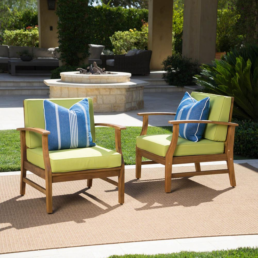 Noble House Perla Teak Finish Wood Outdoor Club Lounge Chairs with Green Cushions (2-Pack)