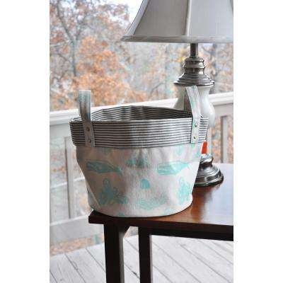 Small Sealife Mint Canvas Round Bottom Storage Tub