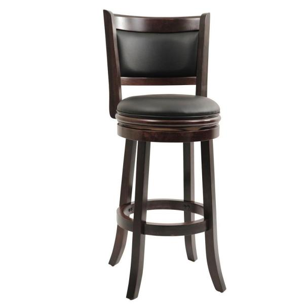 Augusta 29 in. Cappuccino Swivel Cushioned Bar Stool