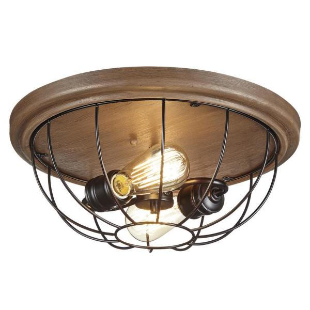 15.75 in. 2-Light Vintage Bronze Bedroom Flush Mount with Open Cage Frame