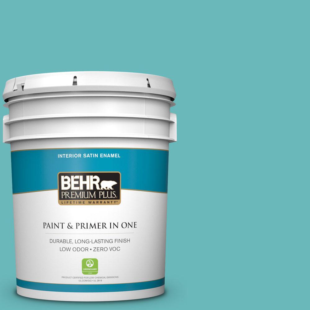 BEHR Premium Plus 5-gal. #510D-5 Surfer Zero VOC Satin Enamel Interior Paint