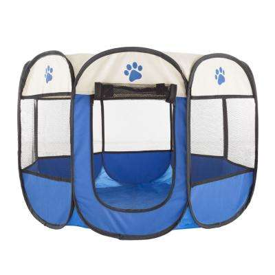 31.5 in. x 31.5 in. Portable Pop Up Pet Play Pen with Carrying Bag in Dark Blue
