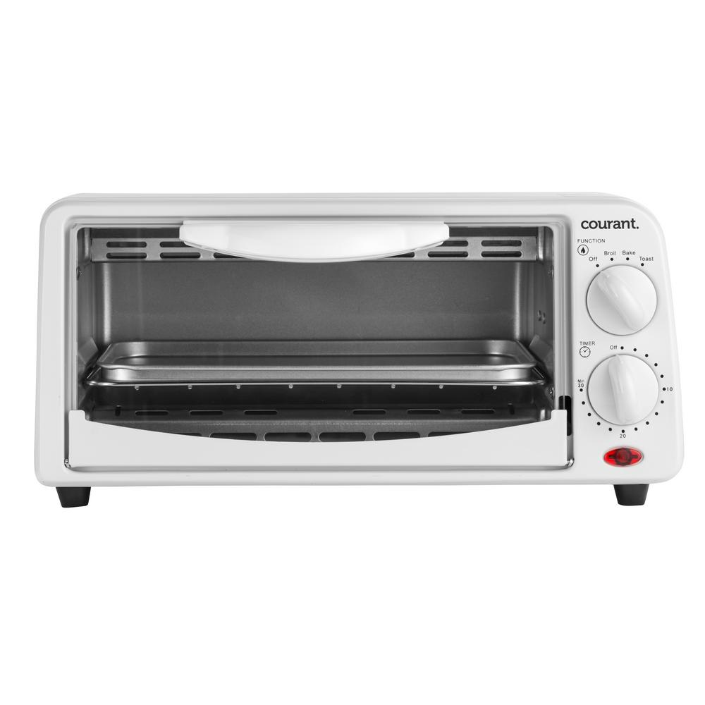 2-Slice Compact Toaster Oven with Bake Tray and Toast Rack in White Our Courant Compact Toaster Oven is a great complement to small kitchens. Good for reheating small dishes such as pizza slices as well as making toast. Includes a 30-minute timer with end-of cycle alert. Can even be used for broiling. Color: White.