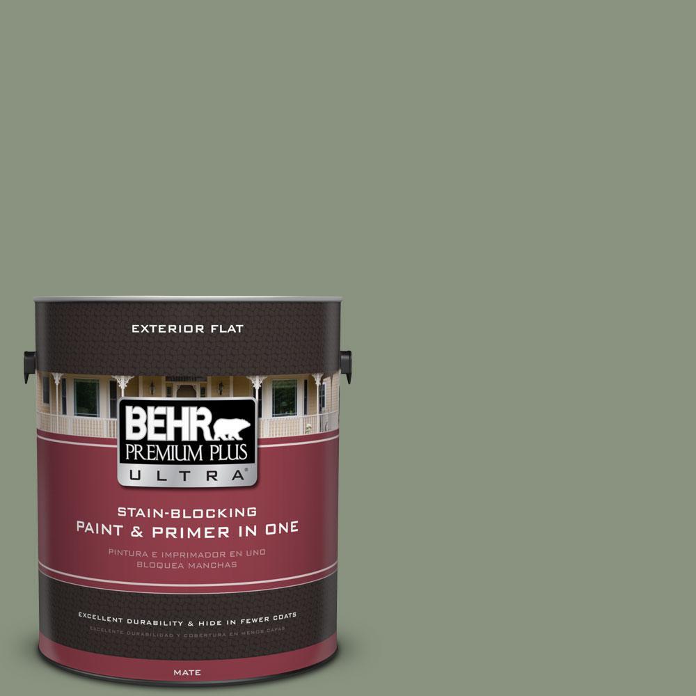 BEHR Premium Plus Ultra 1-gal. #N390-5 Eucalyptus Wreath Flat Exterior Paint