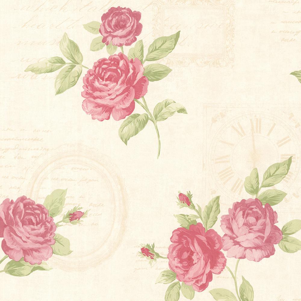 56 4 Sq Ft Venetia Pink Vintage Rose Toss Wallpaper