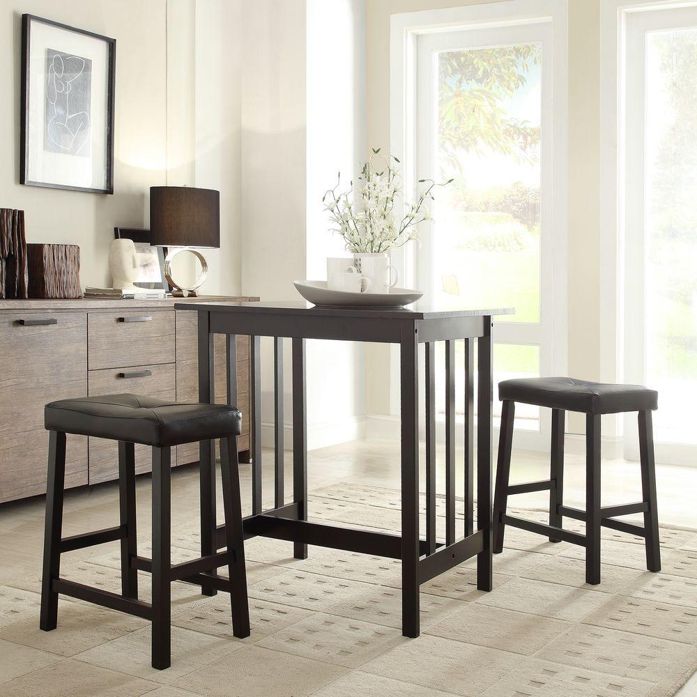 Hubbard Lane 3-Piece Black Bar Table Set by