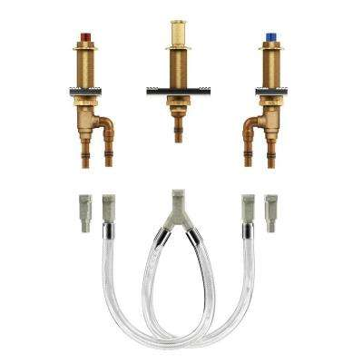 2-Handle 3-Hole Roman Tub Adjustable Rough-In Valve - 1/2 in. Crimp Ring PEX Connection
