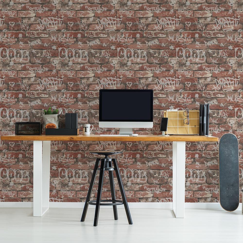 56.4 sq. ft. Rodney Red Tagged Brick Wallpaper