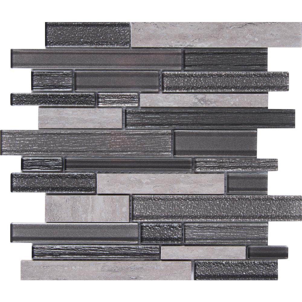 Msi Smoky Alps Interlocking 12 In X 8mm Gl Porcelain Mesh Mounted Mosaic Tile 9 7 Sq Ft Case Glspil Smoalp8m The Home Depot