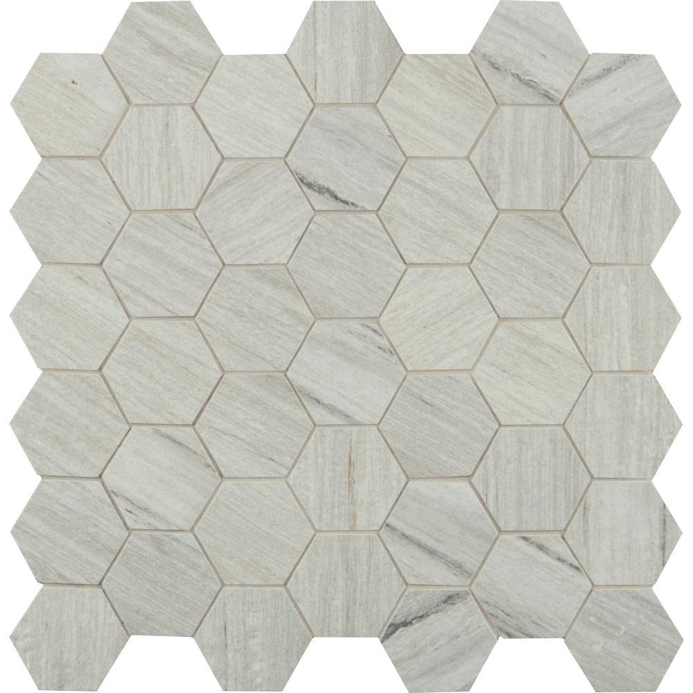 Metro Sand Hexagon 12 in. x 12 in. x 10mm Matte Porcelain Mesh-Mounted Mosaic Tile (1 sq. ft.)