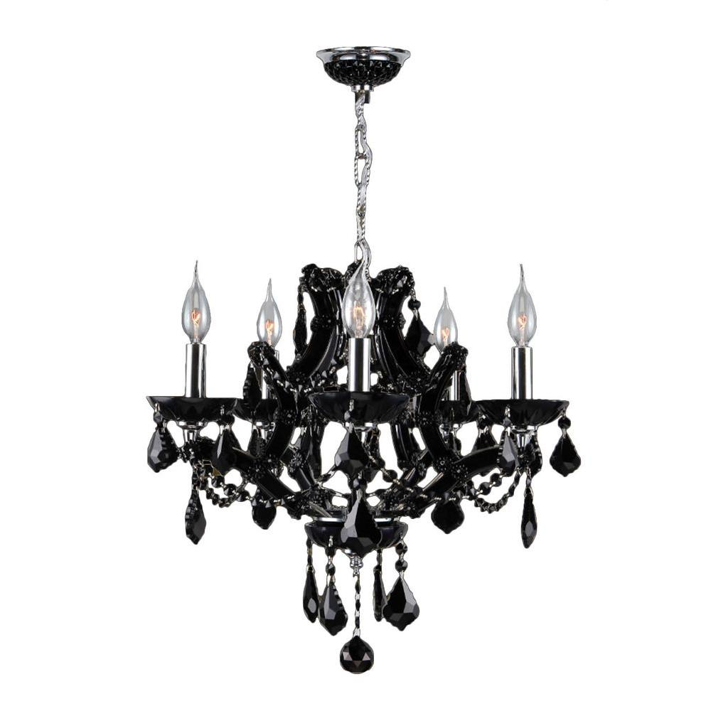 Lyre Collection 5-Light Polished Chrome and Black Crystal Chandelier
