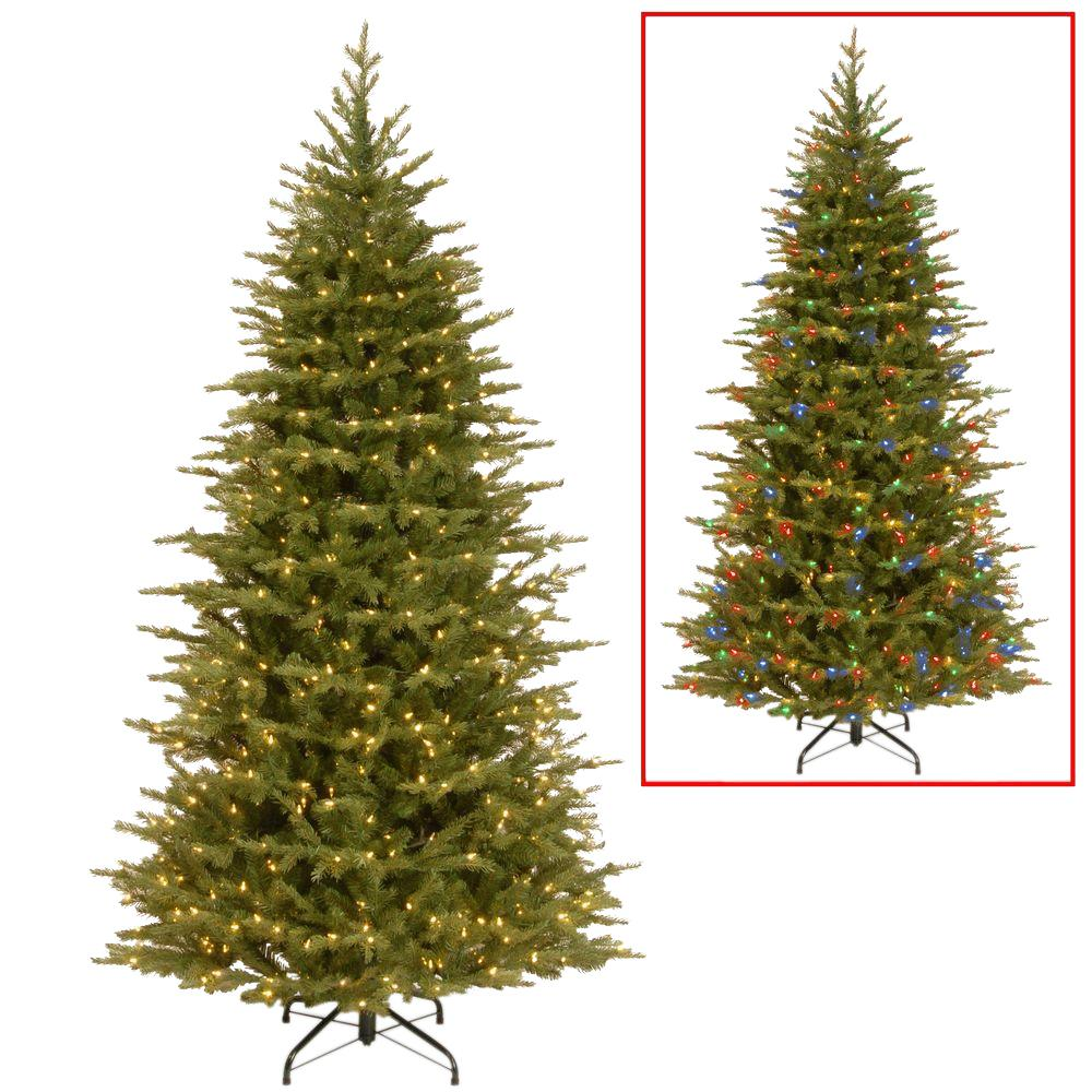 national tree company 75 ft nordic spruce slim artificial christmas tree with dual color led - Christmas Tree Company