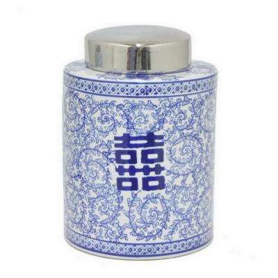 11 in. Blue and White Ceramic Round Jar with Silver Lid