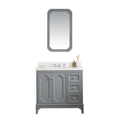 Queen 36 in. Bath Vanity in Cashmere Grey with Quartz Carrara Vanity Top with Ceramics White Basins and Mirror