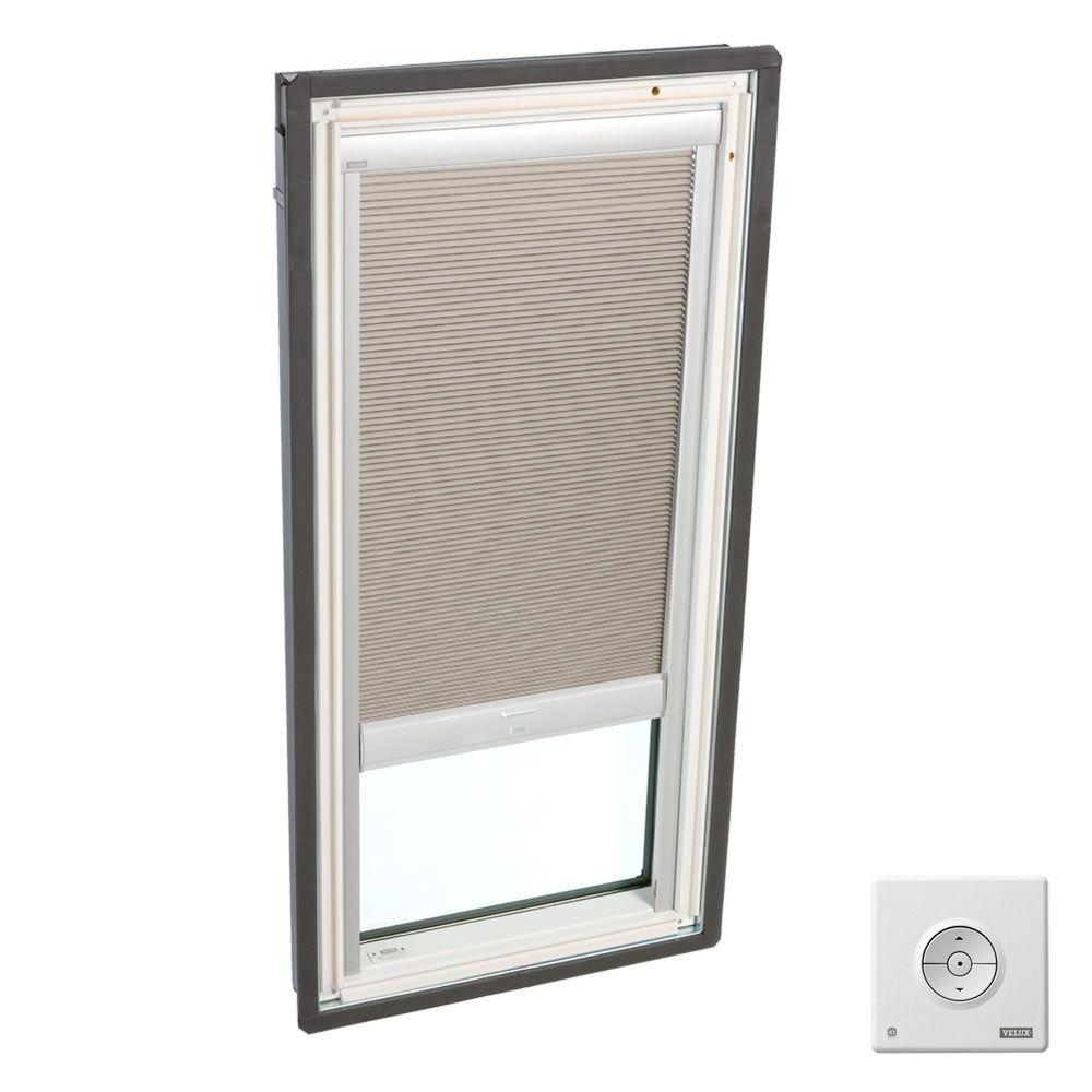 Solar Powered Room Darkening Beige Skylight Blinds for FS M02 and