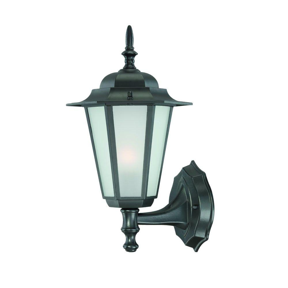 Camelot Collection 1-Light Matte Black Outdoor Wall Lantern Sconce