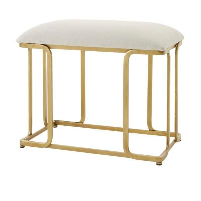 Home Decorators Collection Ivory Upholstered Metal Vanity Stool with Open Frame Gold Base (24.88 in W. X 21 in H.)