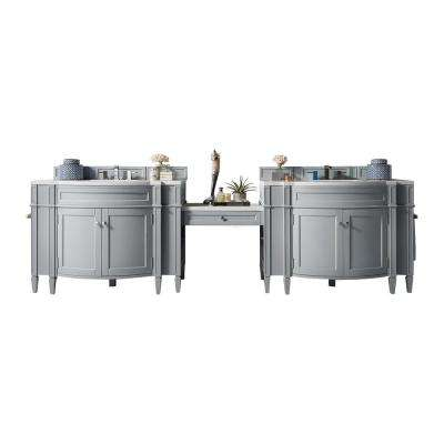 Brittany 122.50 in. W Double Bath Vanity in Urban Gray with Marble Vanity Top in Carrara White with White Basin