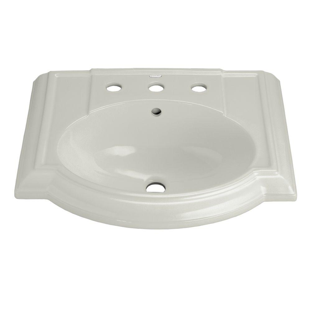 Devonshire Vitreous China Pedestal Sink Basin in Ice Grey with Overflow
