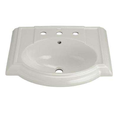 Devonshire Vitreous China Pedestal Sink Basin in Ice Grey with Overflow Drain