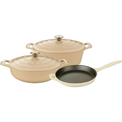 PRO 5-Piece Enameled Cast Iron Cookware Set with Saute, Skillet and Oval Casserole in Cream
