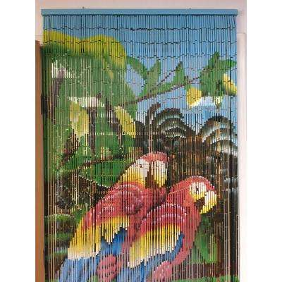 Tropical Parrot Print Beaded Bamboo Curtain