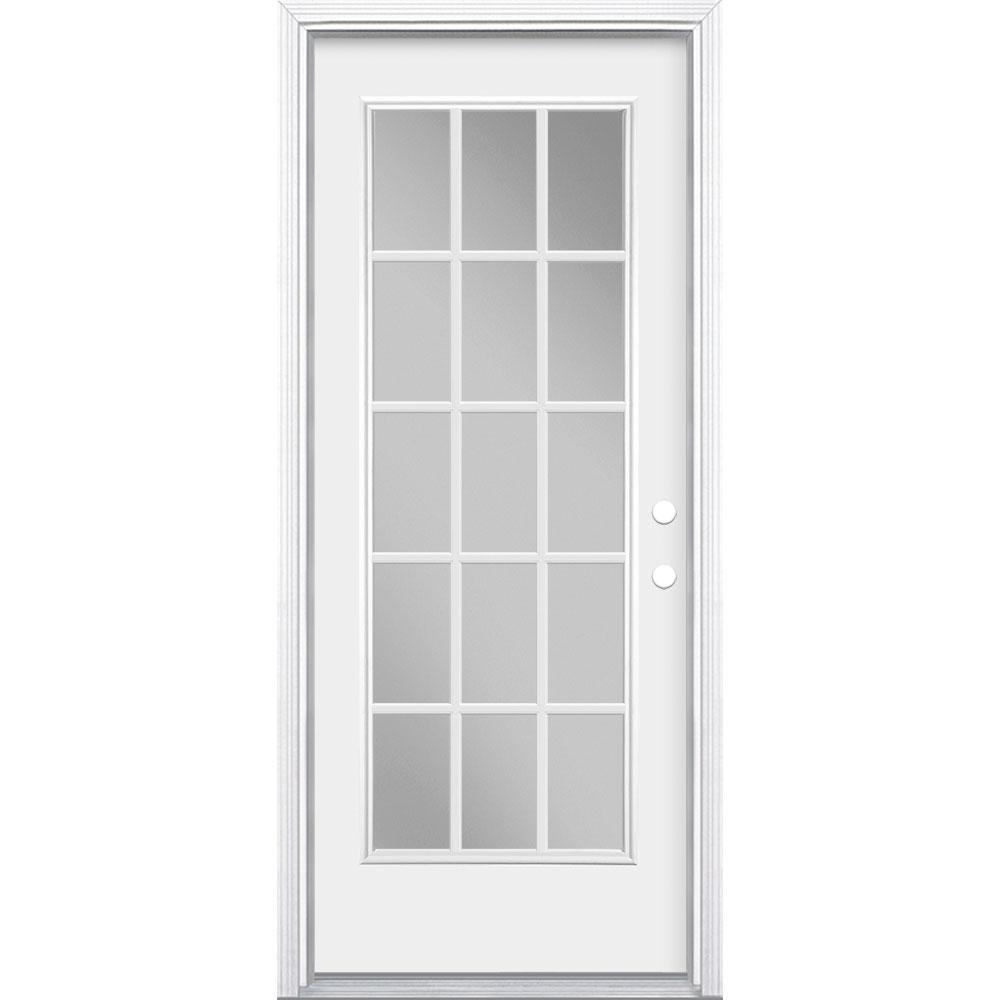 Masonite 32 in. x 80 in. 15 Lite Left Hand Inswing Primed Steel Prehung Front Exterior Door with Brickmold