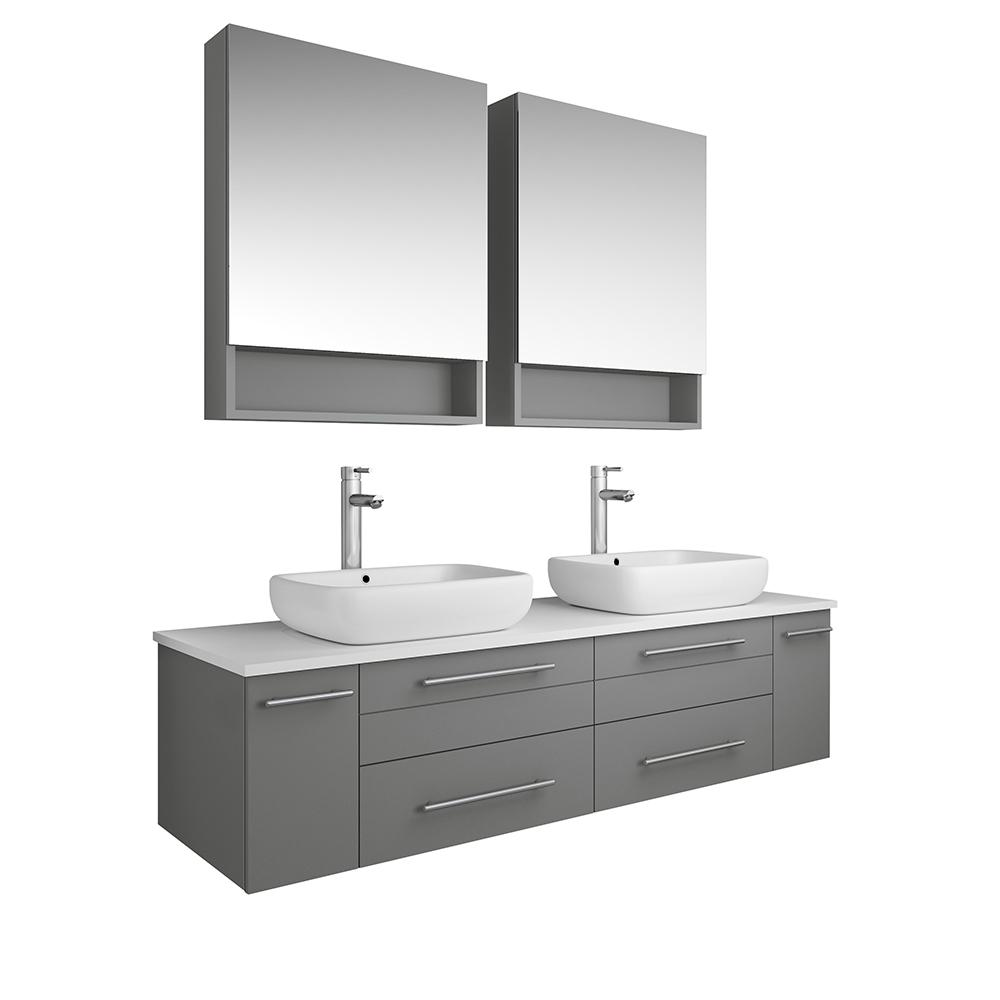Fresca Lucera 60 in. W Wall Hung Vanity in Gray with Quartz Stone Vanity Top in White with White Basin and Medicine Cabinet