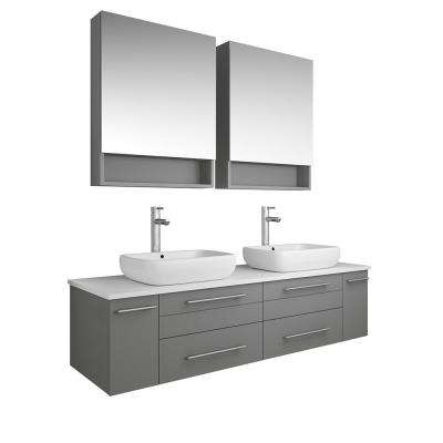 Lucera 60 in. W Wall Hung Vanity in Gray with Quartz Stone Vanity Top in White with White Basins and Medicine Cabinet