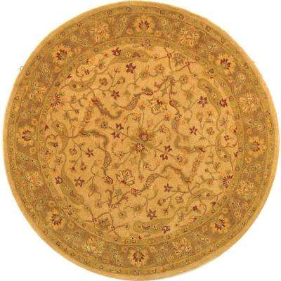Antiquity Ivory/Brown 6 ft. x 6 ft. Round Area Rug