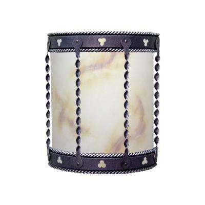 2-Light Black Blacksmithy Orleans Indoor or Outdoor Wall Lantern Sconce with Alabaster Glass
