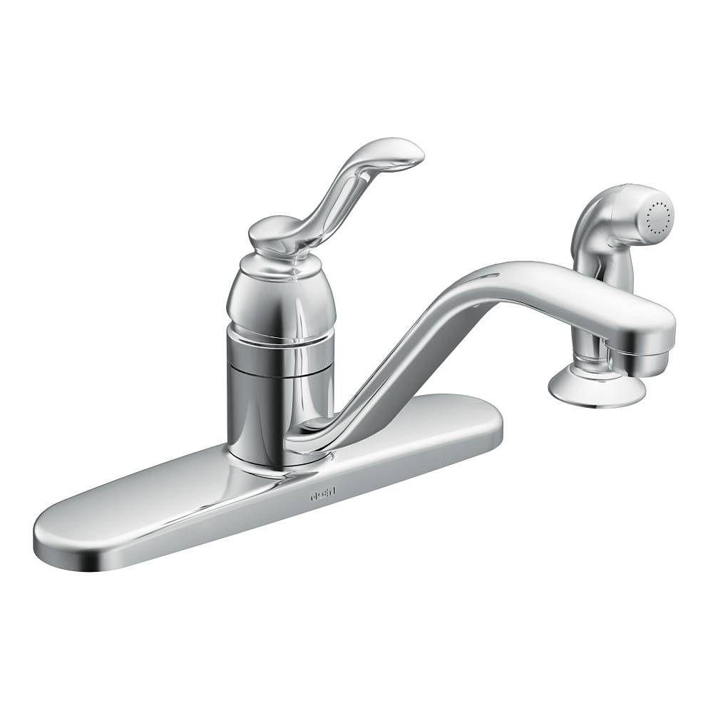 Moen Banbury Single Handle Standard Kitchen Faucet With Side Sprayer In Chrome Ca87528 The Home Depot