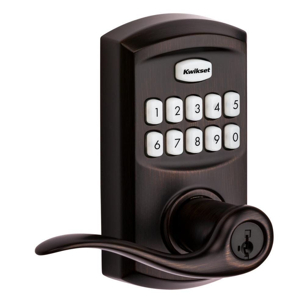 917 SmartCode Venetian Bronze Electronic Single-Cylinder Tustin Door Lever Featuring SmartKey Security