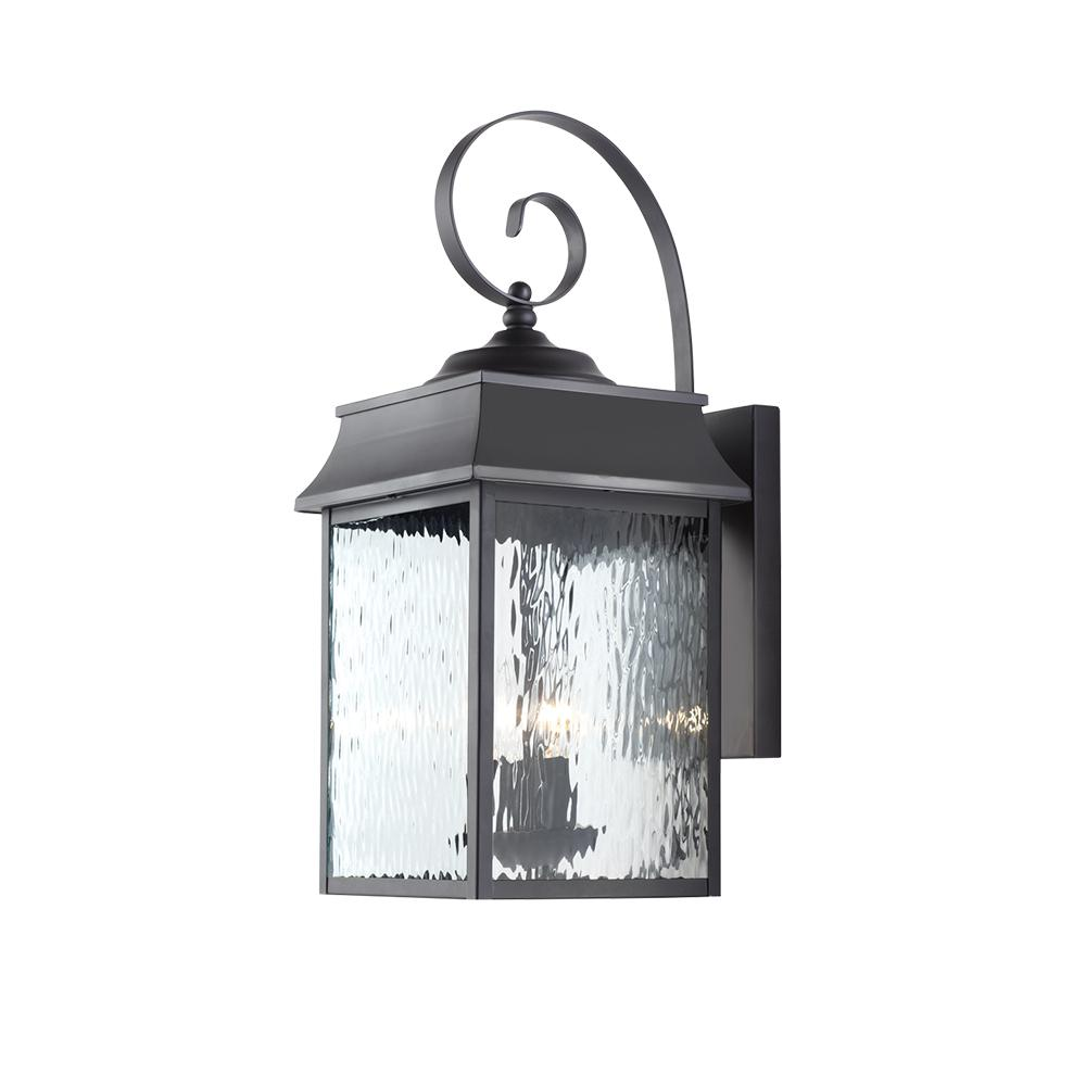 Home Decorators Collection Scroll 2 Light Black Outdoor Large Wall Mount Lantern Jl0905 L The