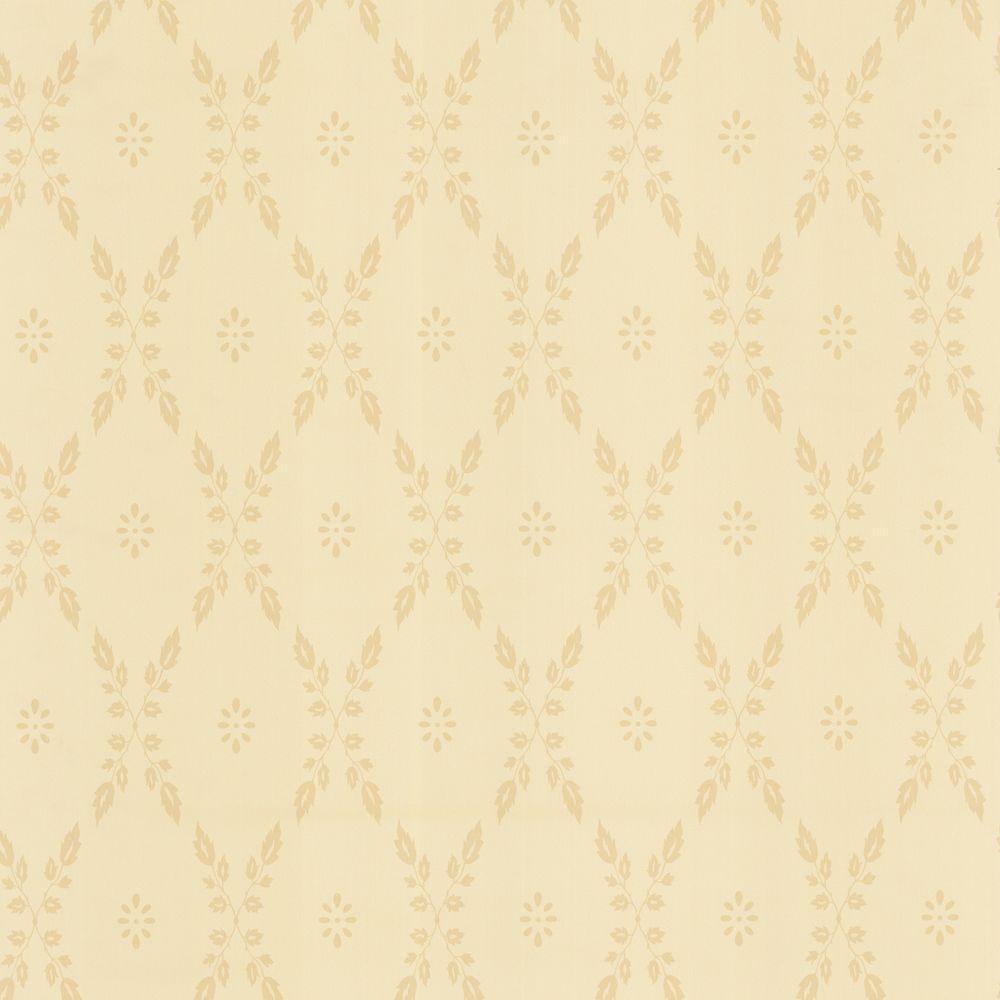 The Wallpaper Company 56 sq. ft. Beige Leaf Trellis Wallpaper-DISCONTINUED